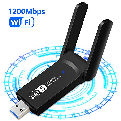 1200Mbps Adaptador WiFi USB, Receptor WiFi Dongle Inalámbrico con Doble Banda AC1200, Soporte de 5Ghz 867Mbps 2.4Ghz 300Mbps, USB 3.0 para PC/Desktop/Laptop Windows10 /8.1/8 /7 /XP,Mac Linux