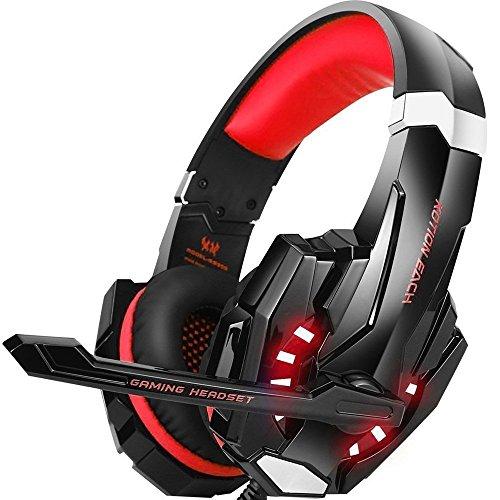 Casco de juego estéreo G9000para PS4, PC, mando de Xbox One, Auricular antirruido con micrófono, luces LED, auriculares de diadema de graves y auriculares rojo rojo