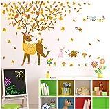 Cartoon Tiere Sikawild Wandaufkleber Für Kinderzimmer Babybett Wohnkultur Großen Baum Gelb Ahornblatt Aufkleber Stick Auf Wand 115 * 91 Cm