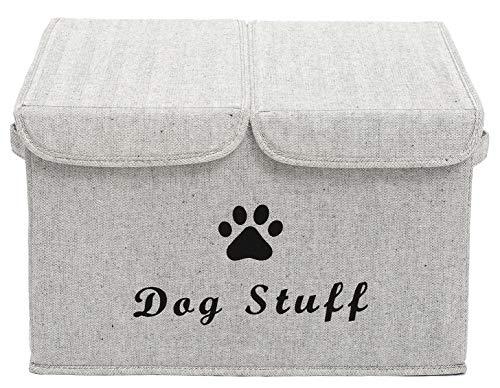 Morezi Aufbewahrungskorb für Hundespielzeug, Segeltuch, mit Deckel, perfekt zusammenklappbar, für die Organisation von Hundespielzeug und Zubehör, Grau gestreift 0540