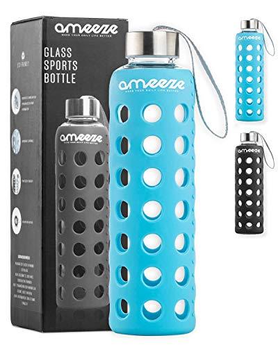 Trinkflasche aus Glas 500ml, Wasserflasche aus Glas; Glasflasche aus Borosilikatglas mit Schutzhülle, bruchsicher & spülmaschinenfest (blau)
