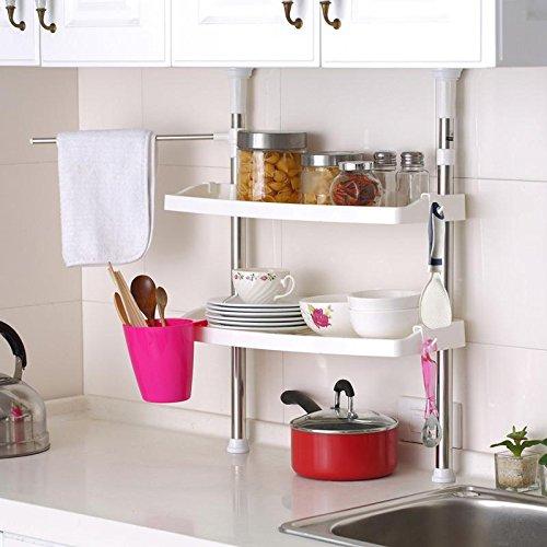 FunkyBuys SI-092 - Scaffale telescopico per bagno, cucina, scaffale salvaspazio