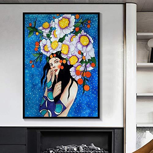 BailongXiao Bunte Aquarellmalereiplakatdruckkunstdekoration des modernen nordischen Charakters auf Leinwand,Rahmenlose MalereiCJX111-30X40cm