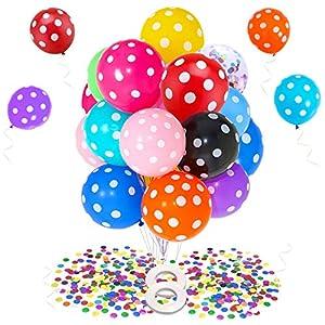 MMTX Globos Cumpleaños Colores Globo de Helio de Látex con Lunares Arcoíris para Fiesta de Cumpleaños con Globo de Confeti Globos de Colores para Bodas, Aniversarios, Baby Shower, Festivales 57pcs