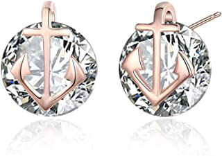Rose Gold Plated Cubic Zirconia Small Anchor Women Earrings Studs