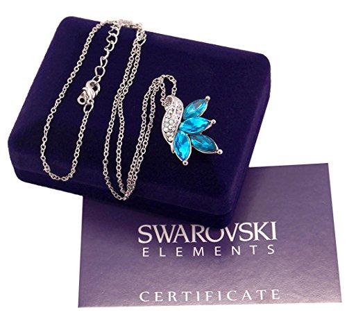 Collana donna oro bianco Swarovski originale G4Love foglie con cristalli azzurri e verde smeraldo, e strass regalo