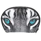 Neceser de Maquillaje Estuche Escolar para Cosméticos Bolsa de Aseo Grande Cabeza de Tigre Blanco con Ojos Azules Brillantes