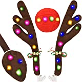 Kooboe Car Reindeer Antlers & Nose Decorations, Christmas Antlers Car Kit with LED Lights Jingle Bell Nose and Tail for Truck, Decorate Any Vehicle, Xmas Gift Set