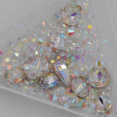 1 lot de strass multicolores 3D à facettes de diamant à dos plat en acrylique pour décoration d'ongles