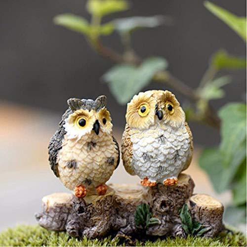 Gbcyp 1 Pcs Statue Night Owl Figures Miniature Figurine pour Mini fée Jardin Aquarium Aquarium Poisson Statue résine Artisanat