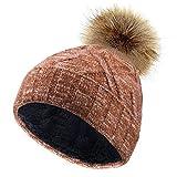 VBIGER Sombreros de Caliente Punto Gorro Invierno con Forro de Felpa Corta para Mujer