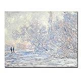 Cartel de la sala de estar con pintura al óleo blanca moderna del paisaje de nieve sobre lienzo sobre lienzo de pared Pop Art 60x80cm