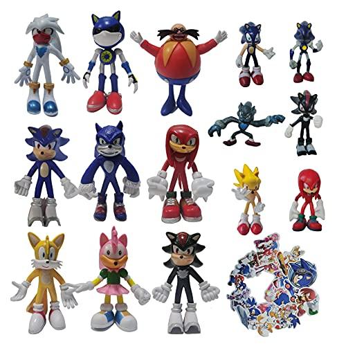 XIANGQIAN Traje de Sonic Un conjunto de nueve figuras grandes + un juego de seis figuras pequeñas Game Sonic Boy Sonic the Erizo Hand Office Aberdeen Doll Toy Gift de cumpleaños