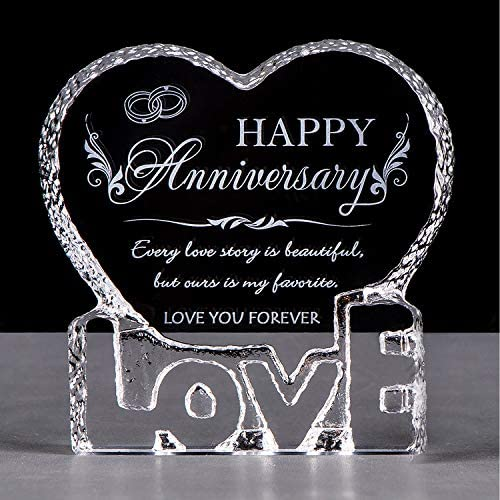 YWHL Wedding Anniversary Gifts for Her Crystal Engraved Romantic Gift for Couples Love Gift product image