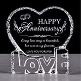 YWHL Wedding Anniversary Romantic Gift for Her, Crystal Engraved Gift for Couples, Love Gift for Wife