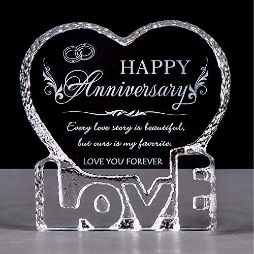 YWHL Wedding Anniversary Romantic Gift for Her, Crystal Engraved Gift...