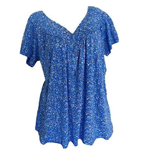 N\P Camiseta de verano de las señoras con cuello en V superior de manga corta camisa de jersey