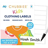 No-Iron Kids Fabric Clothing Labels, Washer & Dryer Safe, Stick-On Name Labels for Daycare and Nursing Home, New Bigger Size, Pack of 80