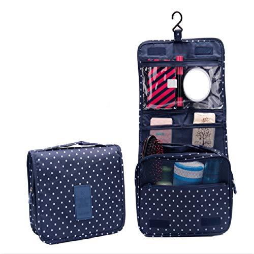 MoGist Trousse de Toilette à Suspendre de Voyage Sac à cosmétiques Sac de Rangement 1 Pcs Bleu Marine Dot Style Taille Environ 24X19.5Cm Agrandir Environ 41,5 cm Matériau Tissu Oxford