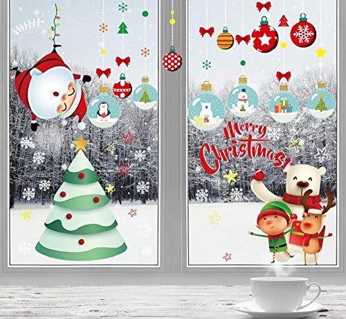 CMTOP Vetrofanie Natale per Finestre Adesivi Natalizi per Vetri Removibili Adesivi Murali Fai da Te Decalcomanie Decorazioni per Finestre Vetrine Pendenti per Fiocchi di Neve per Natalizie