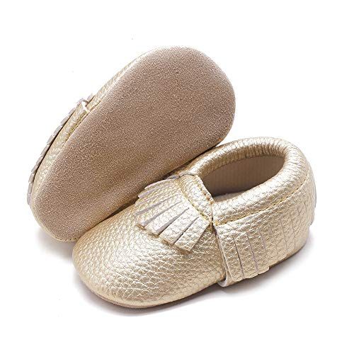 GULUNONG Baby Boys Girls Leather Moccasins Infant Toddler Loafer Flats Soft Sole Prewalker First Walkers Crib Shoes