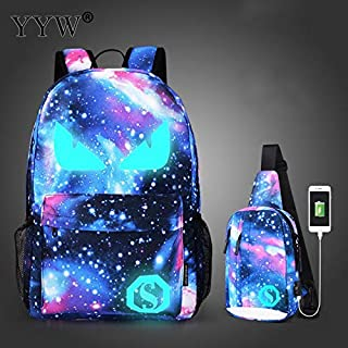 Men Backpack with USB Charging Bags for Women Gothic Mochila Escolar Luminous Schoolbags Teenager Anti Theft