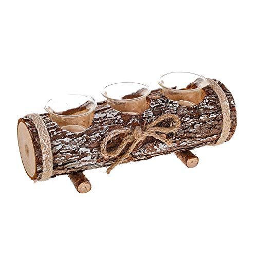 HomeZone Rustic Ornamental Log Candle Holder Tea Light Holder Table Centre Piece Home Decoration Ornamental Candle Bay Table Settings & Gifts