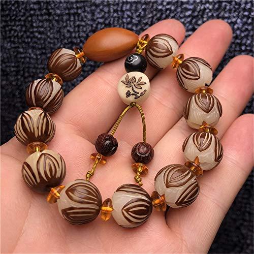 LEIGAGA natuurlijke witte Bodhi wortel gesneden armbanden hand gesneden Bodhi zaad kralen enkele cirkel Lotus armband voor mannen en vrouwen groothandel