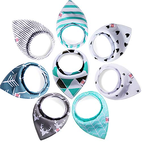 Baby Dreieckstuch Lätzchen,8 Stücke Lätzchen mit 2 Verstellbares Druckknopf,100% Bio-Baumwolle Babylätzchen Super Saugfähig für Baby Jungen und Mädchen Kleinkinder (0-36 Monate)
