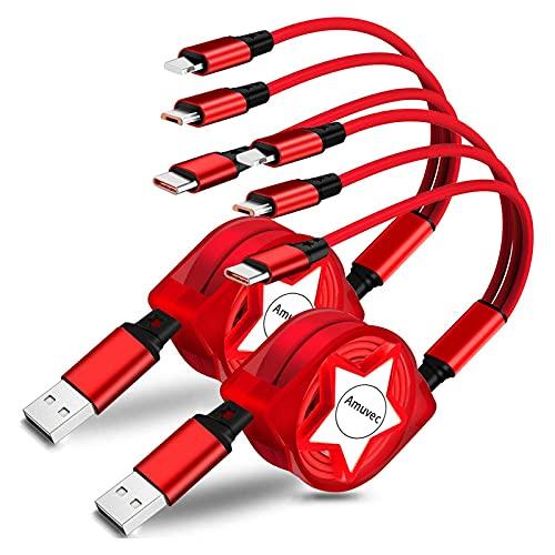 Amuvec 3 en 1 Multi Cable de Carga, 2 Pack Retráctil Multi...