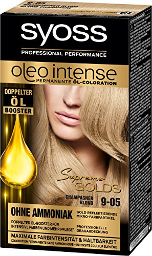 Syoss Oleo Intense Permanente Öl-Coloration, 9-05 Champagner Blond Stufe 3, 3er Pack (3 x 115 ml)