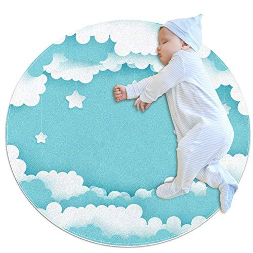 Indimization Nubes de Estrellas Blancas Alfombra Redonda Alfombra Redonda decoración Arte Antideslizante niños Lavables a máquin Suave Sala Estar Dormitorio de Juegos para 70x70cm