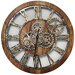 ImprovingLife 24'' Inch Real Moving Gear Wall Clock Vintage Industrial Oversized Rustic Farmhouse (Vintage Brown)