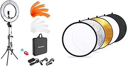 Neewer Ring Light Kit:18%22/48cm Outer 55W 5500K Dimmable LED Ring Light, Light Stand, Carrying Bag & Etekcity 24%22 (60cm) 5-in-1 Portable Collapsible Multi-Disc Photography Light Photo Reflector