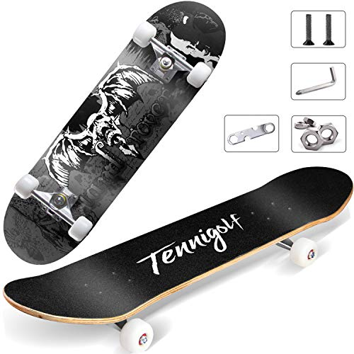 TENNIGOLF Skateboard for Beginners,31'x 8' Complete Skateboard,8 Layer Canadian Maple Double Kick Concave Standard and Tricks Skateboards for Beginners Best Gift
