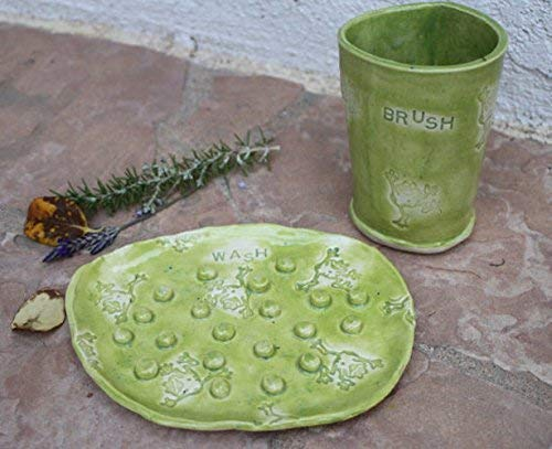 Happy Green Frog Toothbrush Holder and Soap Dish, Handmade Clay Art Pottery Kids Bathroom Cup
