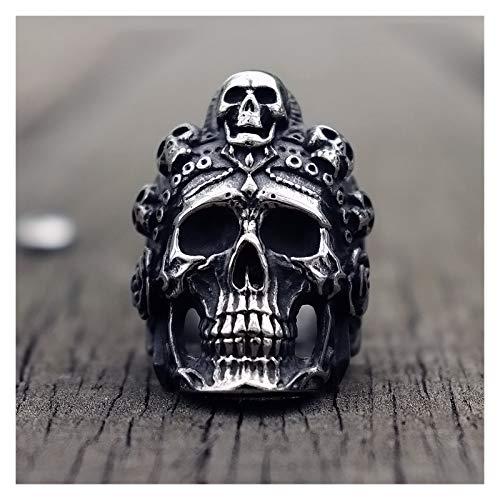 TZZD Anillo de calavera de la muerte para hombre, anillo único de acero inoxidable, joyería punk rock motero, regalo para él (tamaño: 9)