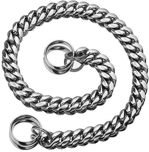 Collar de Perro de 18K de Oro de Plata, 14MM Cadena de Perro de Alta Resistencia para Los Perros Grandes, Fuerte Collar de Cadena de Metal de Acero Inoxidable ( Color : Silver , Size : 12inch/30cm )