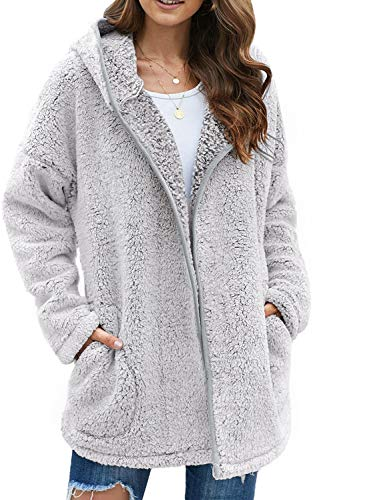 Dokotoo Womens Ladies Winter Fleece Open Front Long Sleeve Casual Solid Fuzzy Fluffy Sherpa Fashion 2020 Hoodies Cardigans Coats Jackets Sweaters Outerwear with Pocket Gray Large