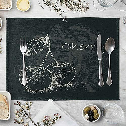 Aeici Lot de 2 Set de Table Lin Lavable Machine Placemats Set Cerise Tapis Table Vintage Sets de Table Blanc Noir 40x30cm