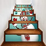 6 unids/set Escalera Etiqueta 3D Simulación Festival Estilo Azulejos Pegatinas de Pared Inicio DIY Decoración de Navidad Para El Hogar Escalera Decor100 * 18