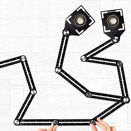 Strumento per misurazione multiangolare, Dima angolare in lega di alluminio Angleizer Template Tool, Modello di Angolazione Strumento Multiuso 6 Strumento di Misurazione Pieghevole (2 Pack)