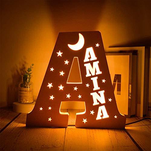 Regalos Personalizados Luz de Noche LED Letras, Luz de noche personalizado Letras Luminosas Decorativas con Luces LED, Letras del Alfabeto A-Z, Decoración de Cabecera
