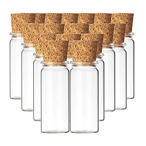 Liuer 20PCS Pequeñas Botellas de Cristal Botellas de Vidrio Pequeñas Frascos de Muestra con Tapones de Corcho Latas Vacías para Latas de té Especias,Té,Dulces,Regalos para Fiestas (10nl)