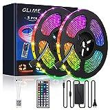 Striscia LED 10M (2x5M) Striscia LED GLIME 300 LED 5050 RGB,6 modalità 20 colori multicolore flessibile può tagliare nastri decorativi lampeggianti al neon con telecomando