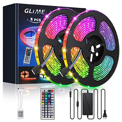 GLIME RGB LED Streifen 10M, LED Strip 300LEDs Lichtband 20 Farben Dimmbar LED Band mit 44 Tasten IR-Fernbedienung, 12V 5A Netzteil, Selbstklebend LED Stripes Kit 2x5M