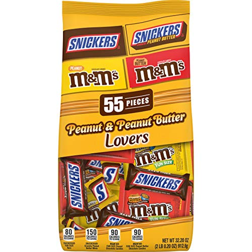 SNICKERS & M&M'S Peanut & Peanut Butter Lovers Fun Size Halloween Chocolate Candy Variety Mix 32.2-Ounce 55-Piece Bag
