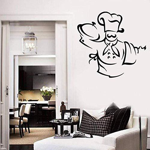 Patrón De Chef Pegatinas De Pared Sombrero De Chef Delantal Toalla Disfrutar Comedor Comedor Cocina Decoración Comedor Vinilos Adhesivos De Pared 42X43 Cm