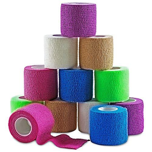 MEDca Vendajes Adhesivos cohesivos 2 Pulgadas X 5 Yardas, empaque de 12 con Cinta Colorida de Primeros Auxilios para aliviar el Dolor y la hinchazón en Tobillo y muñeca (Colores del Arcoiris)