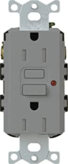 Lutron CAR-15-GFTR-GR Claro 15-Amp Tamper Resistant GFCI Receptacle, Grey